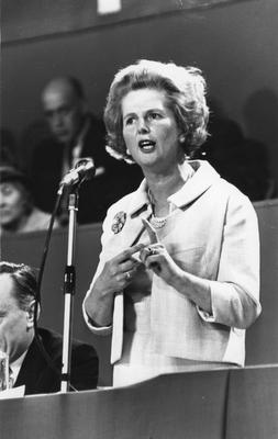 1967:  (FILE PHOTO)  Baroness Margaret Thatcher, 85, Britain's Prime Minister from 1979 to 1990, Reports on April 8, 2013 state that Baroness Thatcher has died following a stroke.. Please refer to the following profile on Getty Images Archival for further imagery.  http://www.gettyimages.com/Search/Search.aspx?EventId=108930459&EditorialProduct=Archival   Conservative politician and future Prime Minister Margaret Thatcher speaking at a party conference on Octobe 21, 1967 in England.  (Photo by Harry Dempster/Express/Getty Images)
