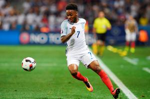 England's midfielder Raheem Sterling plays the ball during Euro 2016 round of 16 football match between England and Iceland at the Allianz Riviera stadium in Nice on June 27, 2016.   / AFP PHOTO / PAUL ELLISPAUL ELLIS/AFP/Getty Images