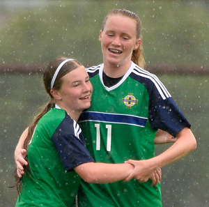 Goal alert: Northern Ireland's Leyla McFarland celebrates after netting against Wales at the SuperCupNI
