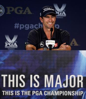 Adam Scott, of Australia, speaks to the media during a news conference for the PGA Championship golf tournament at Valhalla Golf Club on Tuesday, Aug. 5, 2014, in Louisville, Ky. The tournament is set to begin on Thursday. (AP Photo/Jeff Roberson)