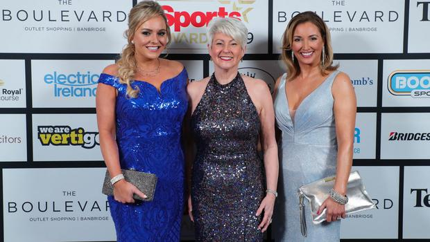 Press Eye - Belfast - Northern Ireland - 20th January  2020   Ruth Gorman, Pamela Ballantine and Claire McCollum pictured at the 2019 Belfast Telegraph Sport Awards at the Crowne Plaza Hotel in Belfast.  Photo by Kelvin Boyes / Press Eye.