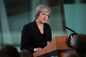 Prime Minister Theresa May during her speech at the Waterfront Hall in Belfast. Photo credit: Charles McQuillan/PA Wire