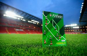 Match day programme sits on the pitch prior to kick off during the EFL Cup fourth round match between Liverpool and Tottenham Hotspur at Anfield on October 25, 2016 in Liverpool, England.  (Photo by Jan Kruger/Getty Images)