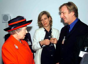 2000: Queen Elizabeth II meeting actors Juliet Stevenson and Alan Rickman at the opening of the new premises of the Royal Academy of Dramatic Art in London. Ian Jones/Daily Telegraph/PA Wire