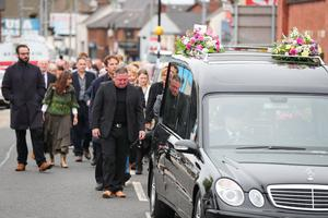 Friends and relatives pictured at the funeral of Kitty Neeson in Ballymena. Photo by Kelvin Boyes / Press Eye.