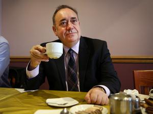 ELLON, SCOTLAND - SEPTEMBER 18:  First Minister Alex Salmond relaxes with a cup of tea at a hotel during a break on referendum day on September 18, 2014 in Ellon, Scotland. After many months of campaigning the people of Scotland today head to the polls to decide the fate of their country.  The referendum is too close to call but a 'Yes'  vote would see the break-up of the United Kingdom and Scotland would stand as an independent country for the first time since the formation of the Union.  (Photo by Peter Macdiarmid/Getty Images)