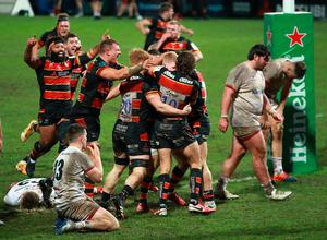 Gloucester celebrate as Ulster come to terms with their late, late defeat.