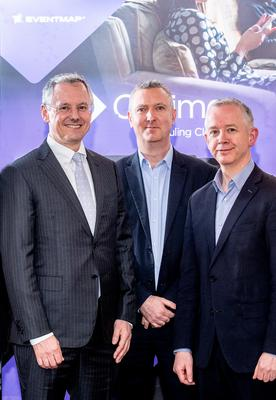 Kevin Holland, CEO, Invest NI with Dr Paul McMullan, Chief Technical Officer and co-founder, EventMAP and Dr Barry McCollum, CEO and co-founder, EventMAP.