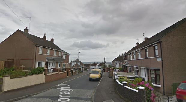 The incident happened on Monagh Drive. Pic Google.