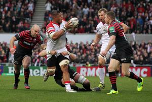 Ulster's Nick Williams sets up an attack against Saracens    during Saturday's Heineken Cup Quarter Final match at Ravenhill
