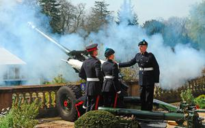 Handout photo issued by Harrison Photography of a 21 Gun Salute at Hillsborough Castle, Belfast, to celebrate the 90th birthday of Queen Elizabeth II. PA