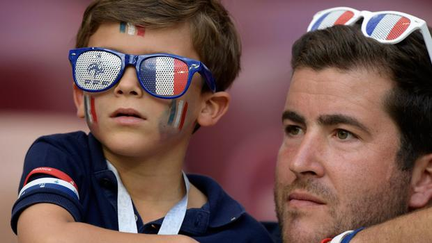 France's fans look on as they wait before the Russia 2018 World Cup Group C football match between Denmark and France at the Luzhniki Stadium in Moscow on June 26, 2018.
