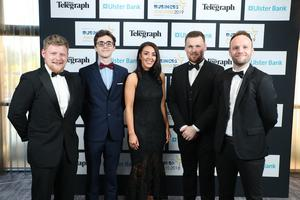 Press Eye - Belfast - Northern Ireland - 2nd May 2019 -   Ian Anderson, Pearse Owens, Denise McCann, Robert Cleland and Conor Donnelly pictured at the Belfast Telegraph Business Awards in association with Ulster Bank at the Crowne Plaza Hotel, Belfast. Photo by Kelvin Boyes / Press Eye.