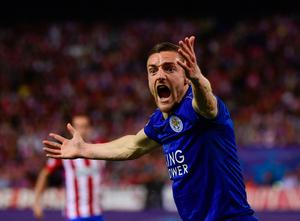 Leicester City's forward Jamie Vardy shouts and gestures during the UEFA Champions League quarter final first leg football match Club Atletico de Madrid vs Leicester City at the Vicente Calderon stadium in Madrid on April 12, 2017. / AFP PHOTO / PIERRE-PHILIPPE MARCOUPIERRE-PHILIPPE MARCOU/AFP/Getty Images