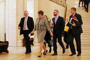 Press Eye - Belfast - Northern Ireland - 11th January 2016 - New First Minister Arlene Foster arrives at Parliament Buildings, Stormont this afternoon. Picture by Kelvin Boyes / Press Eye.