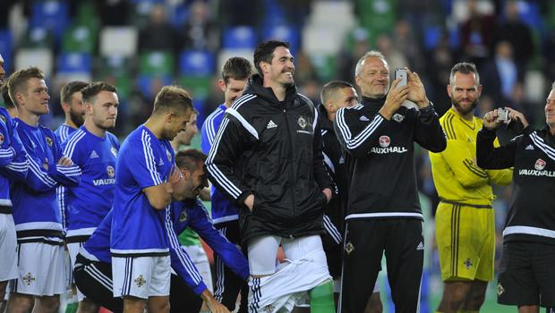 PACEMAKER BELFAST   27/05/2016 Northern Ireland v Belarus  Friendly International Northern Irelands Kyle Lafferty gets his shorts pulled down during this evenings Friendly International at Windsor park. Photo Mark Marlow/Pacemaker Press