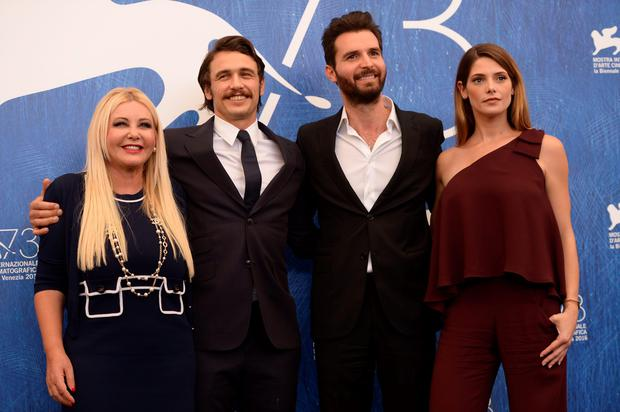 "Actress Ashley Greene (R), Director James Franco (2ndL), producer Andrea Iervolino and producer Monika Bacardi (C) attend the photocall of the movie ""In Dubious Battle"" presented out of competition at the 73rd Venice Film Festival on September 3, 2016 at Venice Lido.FILIPPO MONTEFORTE/AFP/Getty Images"