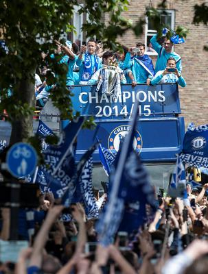 The Chelsea squad during a parade to celebrate winning the Barclays Premier League, in London. PRESS ASSOCIATION Photo. Picture date: Monday May 25, 2015. See PA story SOCCER Chelsea. Photo credit should read: Daniel Hambury/PA Wire.