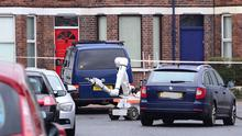 A prison officer injured after bomb explodes under van om the Woodstock Road in Belfast. Army  Bomb Disposal at at the scene. Picture By: Arthur Allison/Pacemaker Press