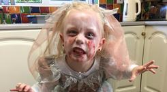 Aoife Anderson aged 5 as the bride of Frankenstein