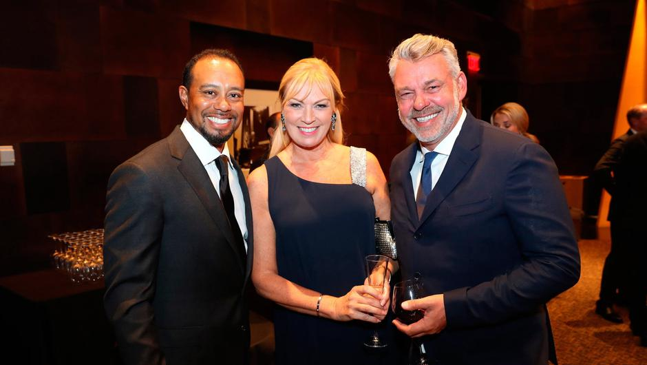 Tiger Woods of the United States, Alison Clarke and captain Darren Clarke of Europe attend the 2016 Ryder Cup Gala on September 28, 2016 in Minneapolis, Minnesota.  (Photo by David Cannon/Getty Images).