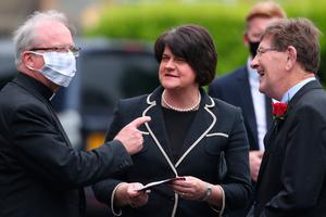 (left to right) The Bishop of Derry, Donal McKeown, First Minister Arlene Foster and former DUP MLA Tommy Gallagher outside St Eugene's Cathedral in Londonderry ahead of the funeral of John Hume. PA Photo. Picture date: Wednesday August 5, 2020. Hume was a key architect of Northern Ireland's Good Friday Agreement and was awarded the Nobel Peace Prize for the pivotal role he played in ending the region's sectarian conflict. He died on Monday aged 83, having endured a long battle with dementia. See PA story FUNERAL Hume. Photo credit should read: Niall Carson/PA Wire