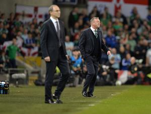 PACEMAKER BELFAST  15/11/18 Republic of Ireland v Northern Ireland International Friendly Northern Ireland Manager Michael O'Neill  and Republic of Ireland Manger Martin O'Neill  during this evenings game  at the Aviva Stadium in Dublin. Photo Colm Lenaghan/Pacemaker Press