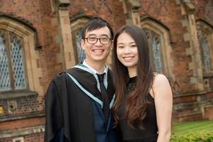 Celebrating his graduation with Pantong Mei is Chufan Zhu who has received a BSc in Computer Science from Queen's University Belfast.