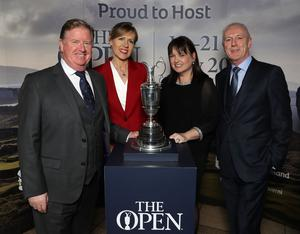Press Eye - Belfast -  Northern Ireland - 31st January 2019 - Photo by William Cherry/Presseye  Guests had the opportunity to get their picture taken with the Claret Jug as Tourism NI marked the start of the official build up to The 148th Open at Royal Portrush with a celebration of Northern Irish talent from sport, music, arts and screen at Titanic Belfast. Pictured are Kevin Shannon, Marina Finn, Aileen Martin and Brian McColgan. Visit https://youtu.be/KPPKRrsR-js to watch the cinematic film ÔWeÕve come a long wayÕ which was premiered on the night.   Photo by William Cherry / Press Eye.