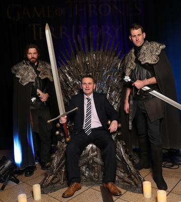 Press Eye - Belfast -  Northern Ireland - 31st January 2019 - Photo by William Cherry/Presseye  Guests had the opportunity to take a seat on the Iron Throne from Game of Thrones¨ as Tourism NI marked the start of the official build up to The 148th Open at Royal Portrush with a celebration of Northern Irish talent from sport, music, arts and screen at Titanic Belfast. Pictured is Richard Mulligan. Visit https://youtu.be/KPPKRrsR-js to watch the cinematic film ÔWeÕve come a long wayÕ which was premiered on the night.  Photo by William Cherry / Press Eye.