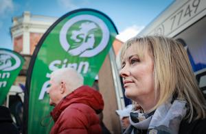 Maria Cahill watches on as A march commemorating the 50th anniversary of the historic civil rights rally in Londonderry leaves Duke Street for Shipquay street on October 6th 2018 (Photo by Kevin Scott / Belfast Telegraph)