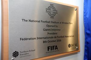 Press Eye - Belfast - Northern Ireland - 8th October 2016 -   The National Football Stadium at Windsor Park Opening Game and Ceremony  Northern Ireland vs San Marino 2018 FIFA World Cup Qualifier  General view of the plaque at the official opening ceremony.  Photo by Kelvin Boyes / Press Eye