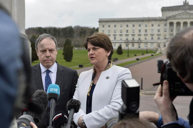 DUP Leader Arlene Foster pictured with Deputy Leader Nigel Dodds at Stormont on the first day back to the Assembly after the Elections. Photo by Stephen Hamilton / Press Eye.