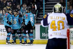 Belfast Giants' David Goodwin celebrates scoring against the Guildford Flames during Friday night's game at the SSE Arena (William Cherry/Presseye)