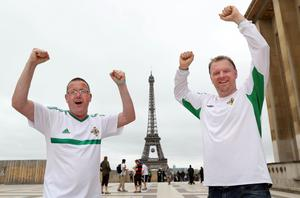Northern Ireland fans Ivan Thompson and John Tilson in Paris where Northern Ireland will play their final Euro 2016 group game against Germany at the Parc des Princes.