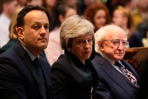 Taoiseach Leo Varadkar , Prime Mnister Theresa May and President Michael D Higgins before the funeral service for murdered journalist Lyra McKee at St Anne's Cathedral in Belfast.