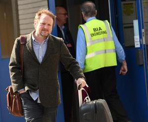 Pacemaker Press 13/5/2016  Rian Johnson (director ) pictured as Star Wars Cast Members arrive at Belfast International Airport on Friday Morning , They are due to film Star Wars Episode VIII at   Malin Head in Co Donegal.  The entire shoot is very much top secret, with locals and landowners sworn to keep it that way, and access to the beauty spot is closed for the next three days. Pic Colm Lenaghan/Pacemaker