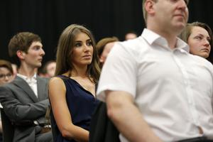 TV presenter Katie Larmour watches NI21 Party Leader Basil McCrea MLA and Deputy Leader John McCallister MLA at the party's launch at the Metropolitan Arts Centre in Belfast