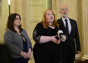 Naomi  Long MLA leader of the Alliance Party leads her party's delegation for a press conference at Stormont in Belfast. Picture By:  Arthur Allison/Pacemaker Press