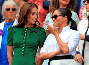 The Duchess of Cambridge and The Duchess of Sussex at Wimbledon in July 2019.