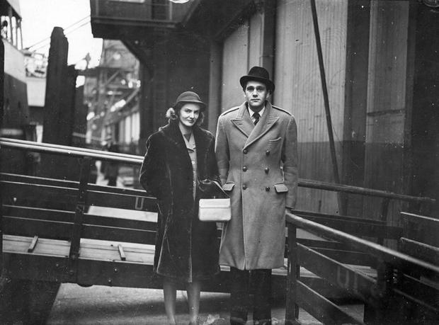 Hon. Edward Carson, son of late Lord Carson of Duncairn, and his wife arriving for the Unionist Council meeting.  19/2/1948
