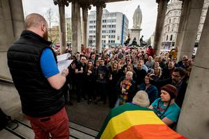 John O'Doherty of the Rainbow Project reads a letter written by Lyra McKee when she was aged 24 called, Òa letter to my 14-year-old selfÓ, during a vigil at Belfast City Hall in memory of murdered journalist Lyra McKee. PRESS ASSOCIATION Photo. Picture date: Friday April 19, 2019. See PA story ULSTER Unrest Vigil. Photo credit should read: Liam McBurney/PA Wire