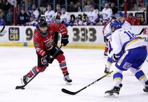 Belfast Giants forward Liam Morgan with Fife Flyers defenceman Michal Gutwald