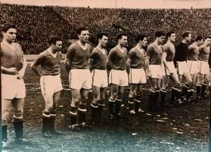 Pic Shows: Photographs of the Manchester Utd Team playing Red Star Belgrade before the Munich Air Crash in which many of the Manchester United team died. Pic (C) Stuart Clarke.