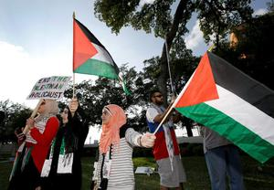 Pro Palestinian supporters, who preferred to remain unnamed, wave Palestinian flags during a protest in Dealey Plaza, Sunday, Aug. 3, 2014, in Dallas . (AP Photo/Tony Gutierrez)