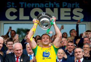 Donegal captain Michael Murphy lifts the Anglo-Celt Cup after winning the 2019 Ulster Final