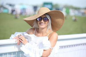 PressEye-Northern Ireland- 15th May  2019-Picture by Brian Little/PressEye  Jenna Hunter from Markethill enjoying the sunshine  at Balmoral Park during the first day of the Balmoral Show 2019 Picture by Brian Little/PressEye