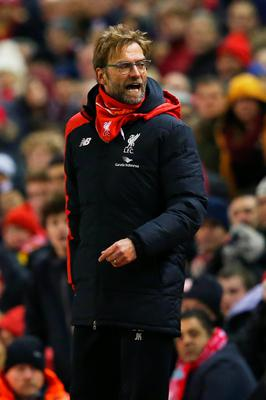 LIVERPOOL, ENGLAND - JANUARY 13:Jurgen Klopp, manager of Liverpool argues with the fourth official  during the Barclays Premier League match between Liverpool and Arsenal at Anfield on January 13, 2016 in Liverpool, England.  (Photo by Alex Livesey/Getty Images)