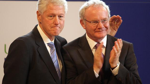 PACEMAKER, BELFAST, 29/9/2010: The former US President Bill Clinton , with Deputy First Minister Martin McGuinness,after speaking at  the University of Ulster,Magee campus, in Londonderry,Wednesday 29th September 2010,Mr Clinton  arrived in Northern Ireland on a visit designed to support the peace process and promote economic growth.Mr Clinton is visiting Londonderry where 25,000 people turned out to see him on his first visit in 1995. He is expected to make a speech at the University of Ulster campus at Magee on how to build economic prosperity.PA:Paul Faith POOL PICTURE
