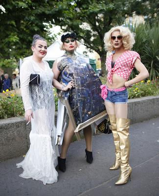 Drag Artists enjoy the culture night at Belfast cathedral quarter. Picture by Peter Morrison